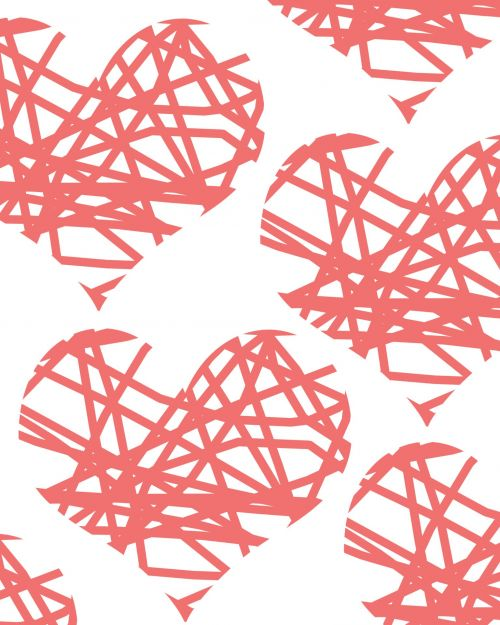 Pink Scribble Hearts Background