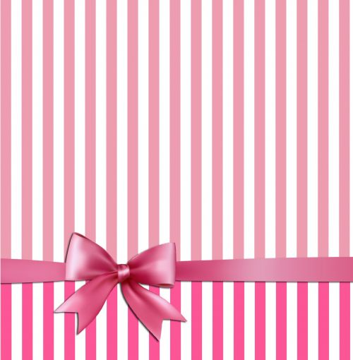 Pink White Stripes & Bow Background
