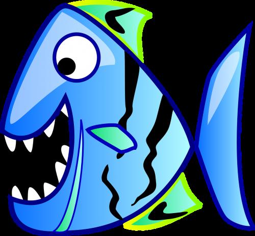 piranha fish blue