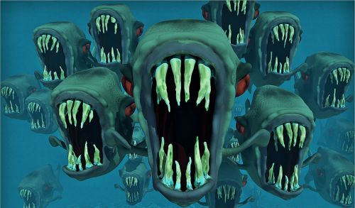 piranhas nightmare fish swarm