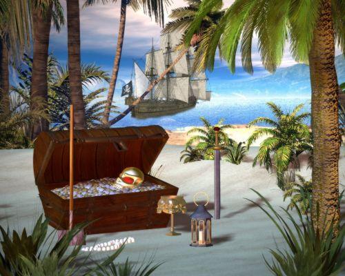 pirate treasure chest beach