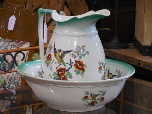 pitcher bowl rustic