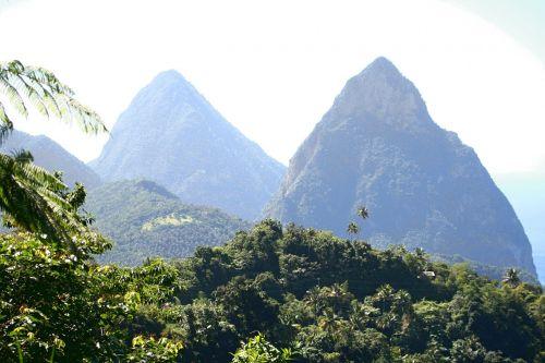 pitons twin pitons caribbean island