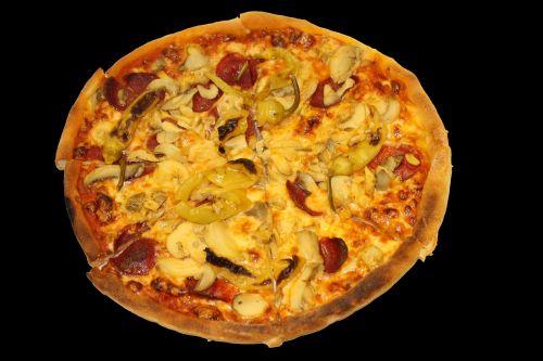 pizza tomatoes salami