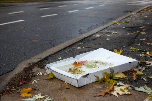pizza carton  weather  garbage