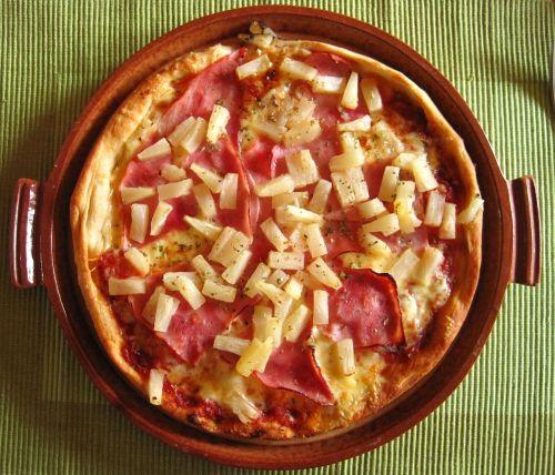 pizza hawaiian pizza plate court