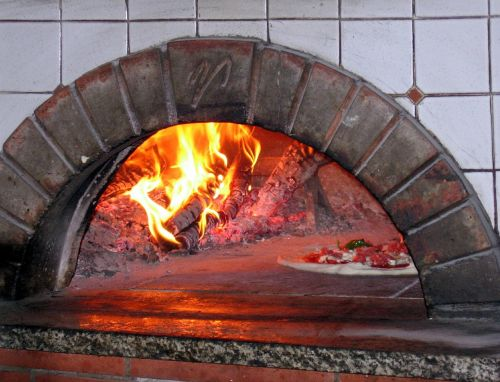 pizza oven wood fired burning