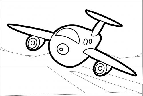 plane cartoon line art