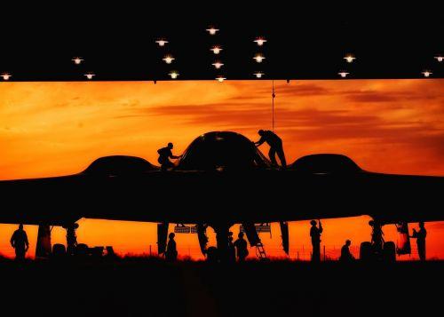 lėktuvas,reaktyvinis,kelionė,gabenimas,siluetai,priežiūra,b-2 Stealth,baltasis afb,dangus,debesys saulėlydis,oro pajėgos