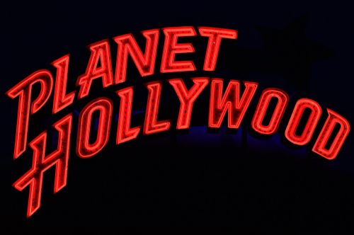 planet hollywood neon advertising