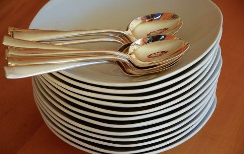 plates spoons silverware