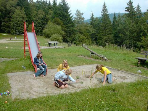 playground sand pit slide