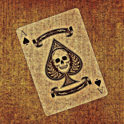 žaidimo korta,ace,pik,audinys,struktūra,kortų žaidimas,žiūrėti,žaisti,azartiniai lošimai,kaukolė ir skersmens kaulai,meniškai,žemėlapis