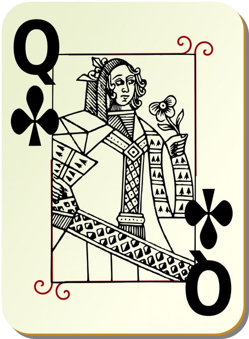 playing card queen clubs