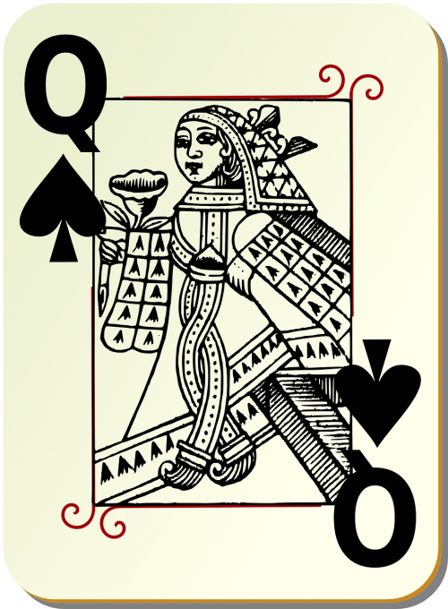 playing card queen spades