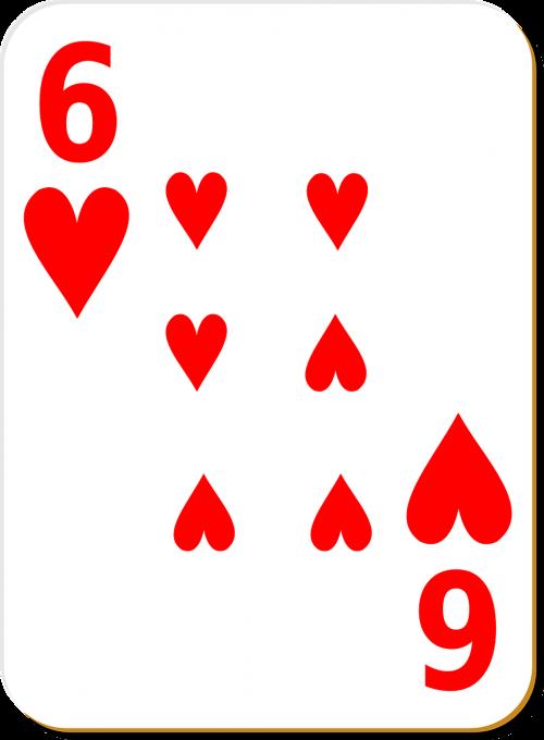 playing card six hearts