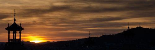 plaza españa barcelona sunset