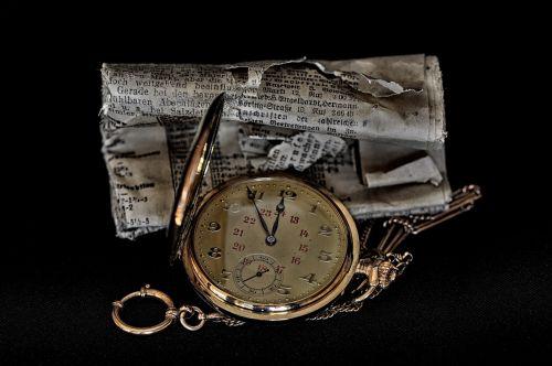 pocket watch newspaper clock