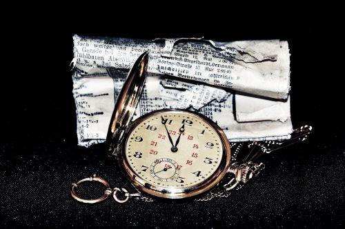 pocket watch clock newspaper