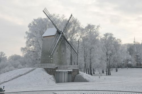 podlasie winter windmill