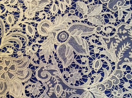 point de rose 19th century needle lace detail from a meter side