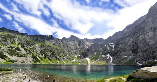 poland tatry black pond under scratches