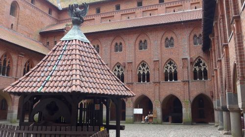 poland malbork castle courtyard with cloister