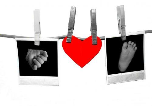 polaroid clothespins heart