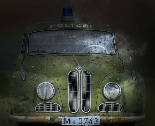 police car old timer movie car