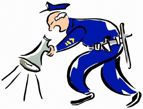 Police Officer & Megaphone