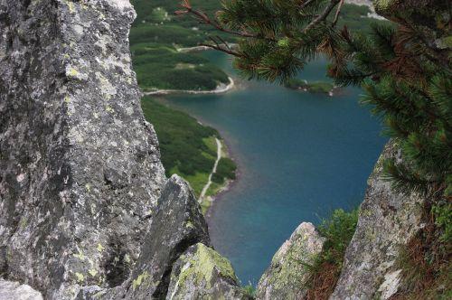 polish tatras pond tracked granite