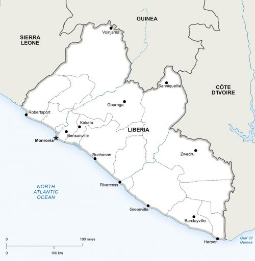 political map liberia