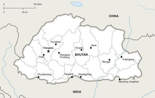 political map bhutan