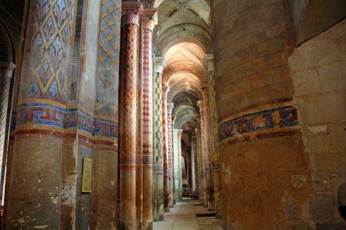 polychrome columns ornate pillars church pillars