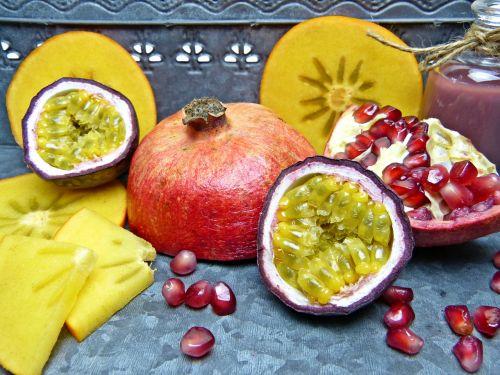 pomegranate pomegranate seeds passion fruit