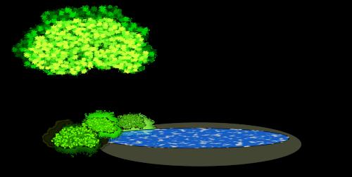 pond vector image tree
