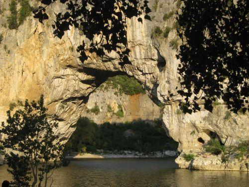 arkos tiltas,Ardeche,upė,natūralus tiltas,Holiday,vandens,Ardės kalvos,Ardeche,Prancūzija,akmeninis tiltas
