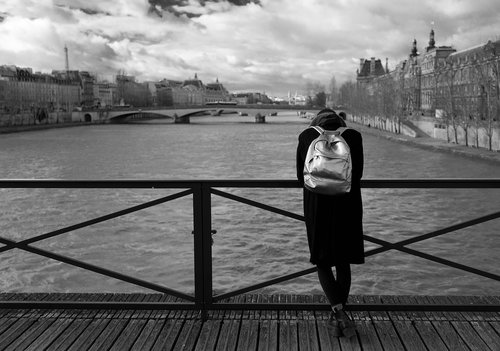 pont des arts  paris  woman