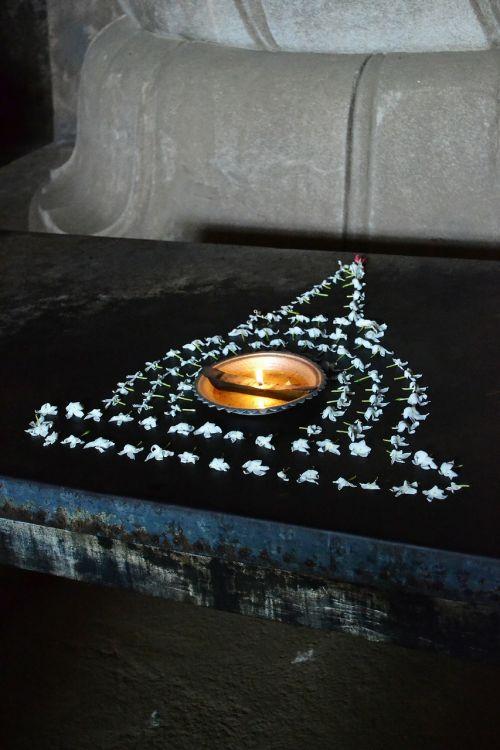 pooja ritual oil lamp