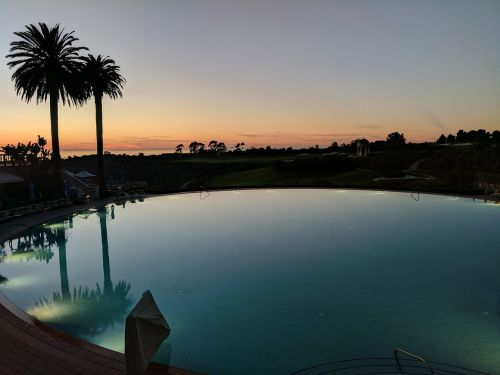 pool resort sunset