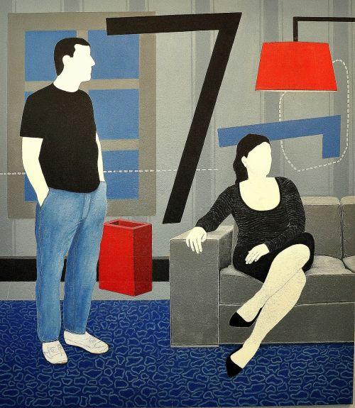 Pop menas,meno,meniškumas,abstraktus,vyras,moteris,koncepcija,viduje,interjeras,sofa