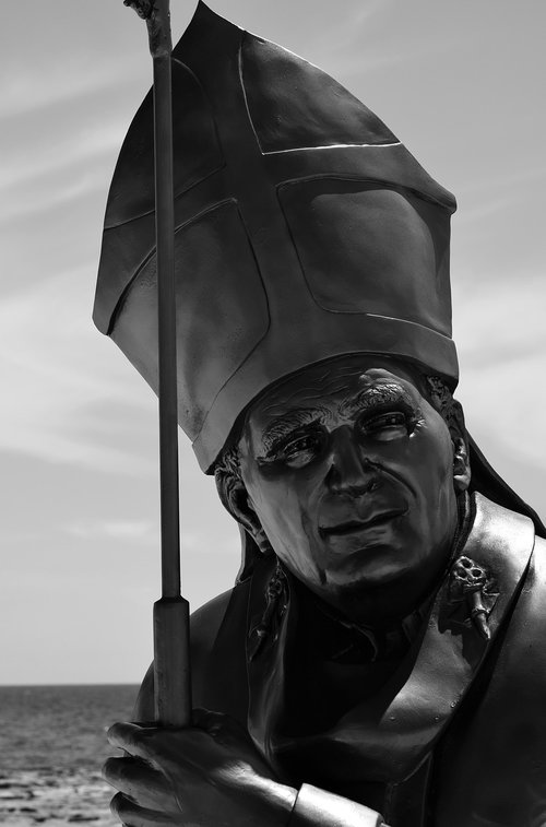 pope  john paul  monochrome