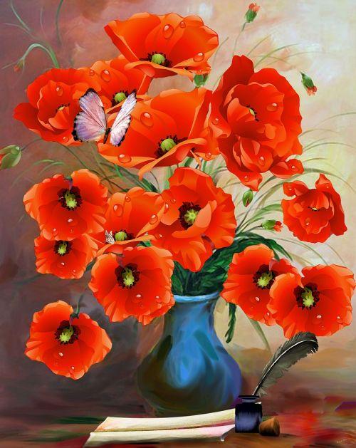 poppies vase art