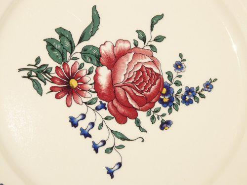 porcelain plate rose