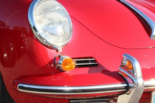 porsche red front headlight