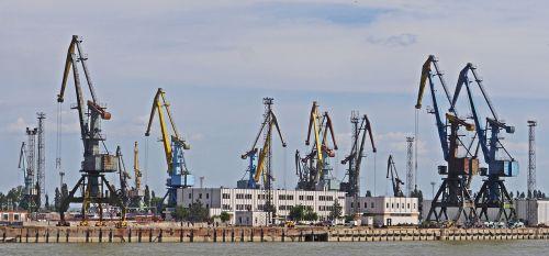 port harbour cranes lower danube