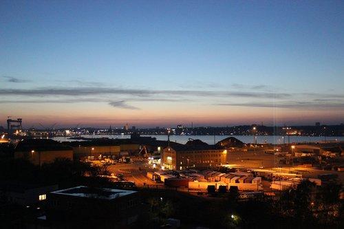 port  kiel  evening