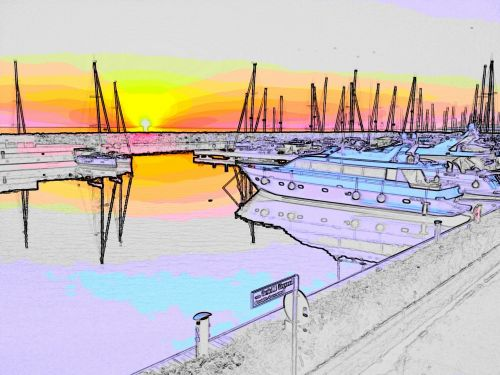 port sunset boats