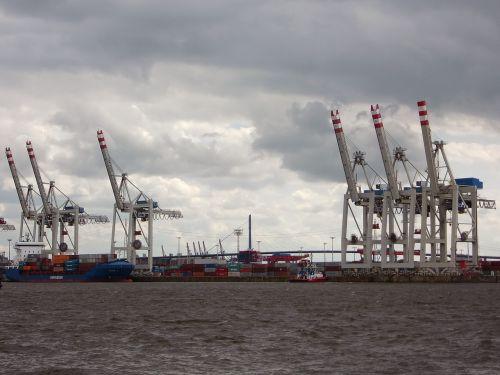 port cranes cargo harbour cranes