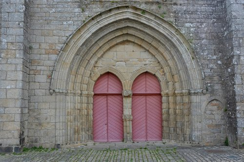 portal church of pont l'abbé  brittany france  doors